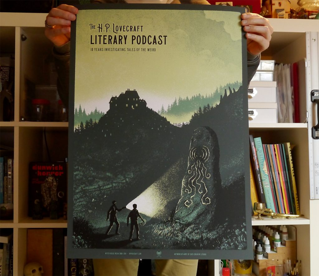 HP Lovecraft Literary Podcast 10th Anniversary Screenprint